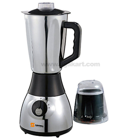 Sayona 2 In 1 Stainless Blender-2 Liters - Silver,Black. SY-808