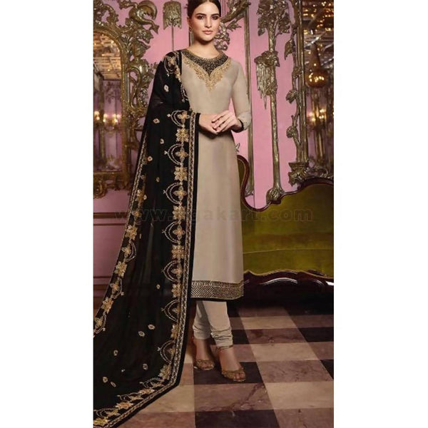 Grey and Black Georgette SemiStitched Material Dress (Delivery Within 20days) Size:44