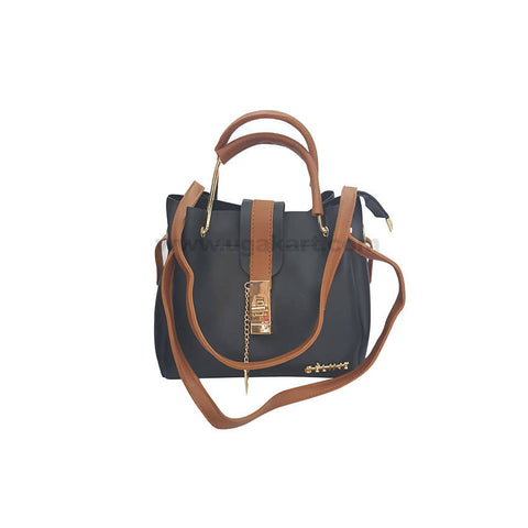 CE Line Dark Blue and Brown HandBag For Women's