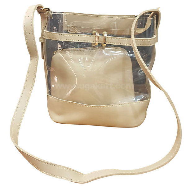 Cream Transparent 2 in 1 Ladies Hand Bag