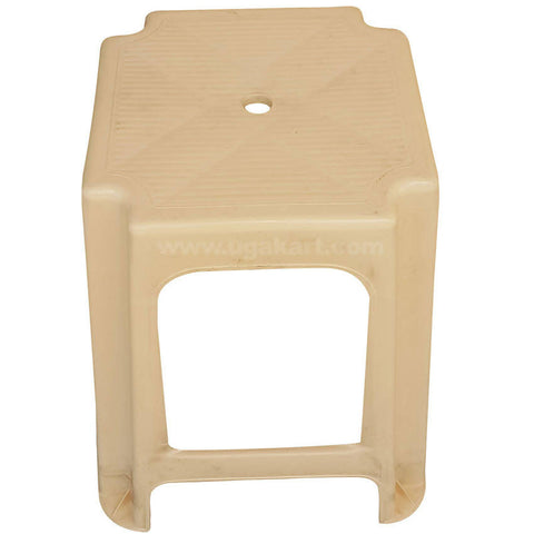 Square Plastic Jaguar Stool, Cream