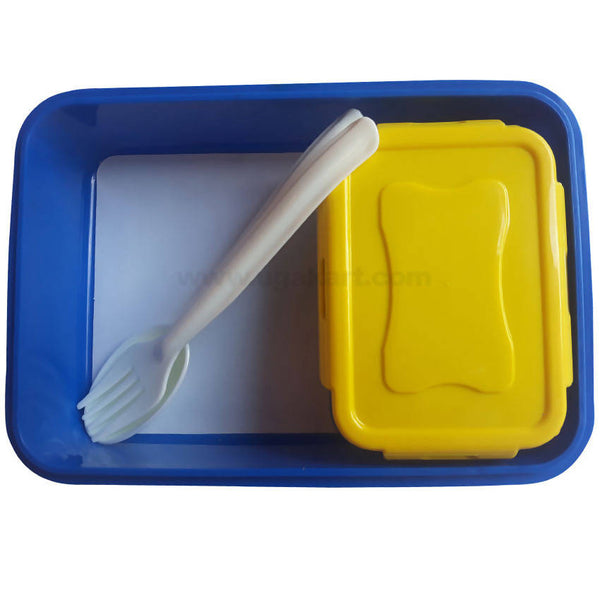 Pratap Navy Blue Plastic Lunch Box With Spoon