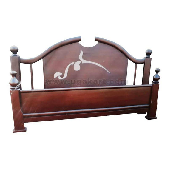 Floral Design On Head Wooden Double Bed