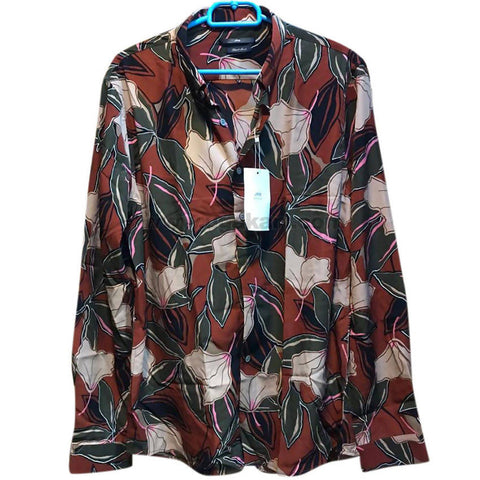 Men's Green & Brown Floral Long Sleeve Shirt