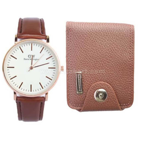 Brown Wallet and Leather Strap Men's Watch - Brown