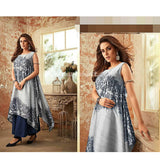 Long one pc Dress With Different Cut Silk Shiny Material XXL (Bust Size-44)