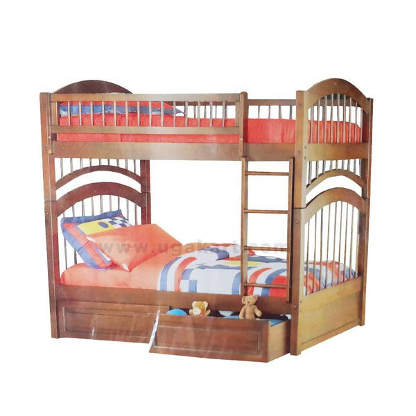 Double Decker Kids Wooden Bed With Draw-Size 3/6,4/6