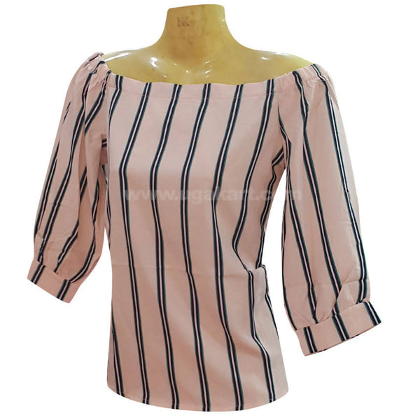 Women's Biege, Black Stripped Top