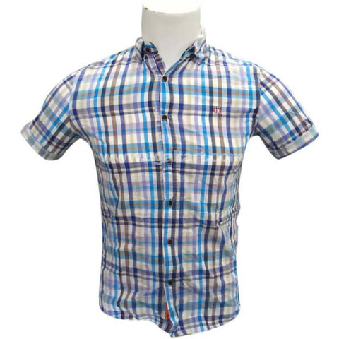 Multicolor Casual Checkered Regular Fit Formal Half Sleeve Shirt for Mens