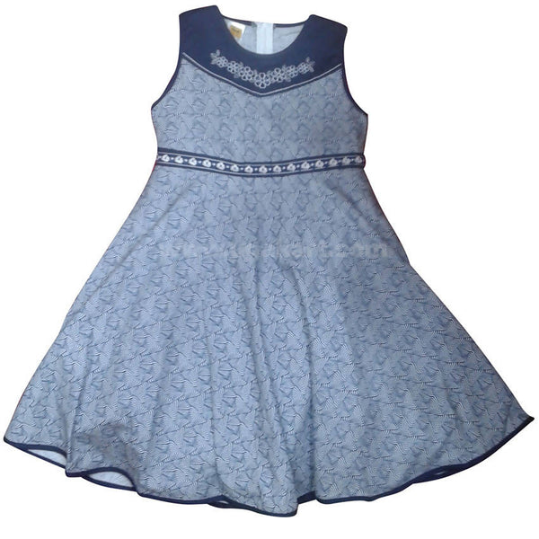 Navy Blue & Grey Girls Dress (1-3yrs)