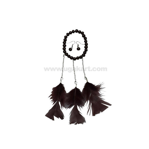 Feather Earrings With Bracelet_Black