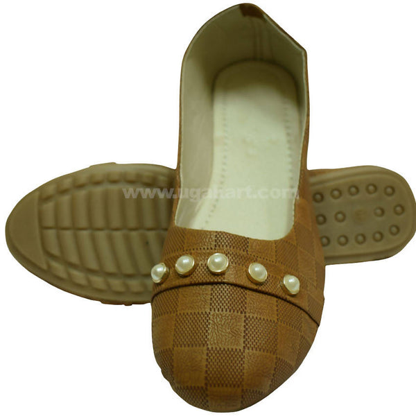 Brown Checked Ballet Flat Shoe For Women