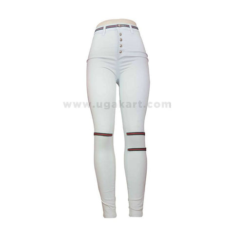White Ladies Pant With Red Strips
