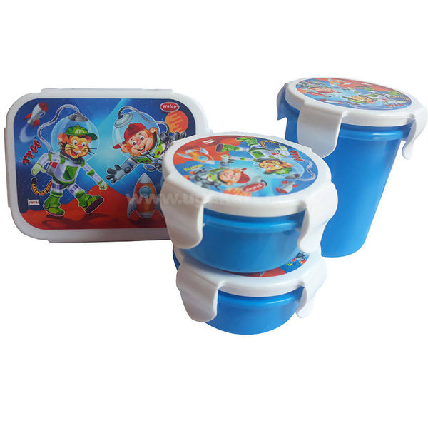 Pratap Blue Lunch Box With Water Bottle Pack Of 2