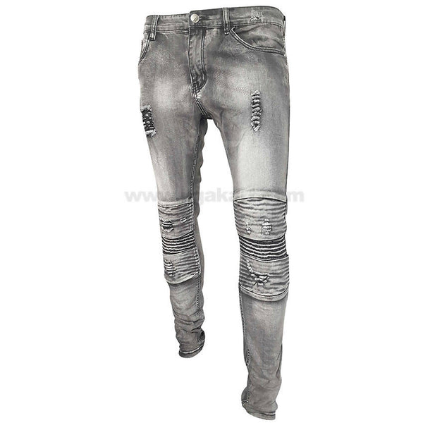 Carbon Black Distressed Zipper Jeans For Mens