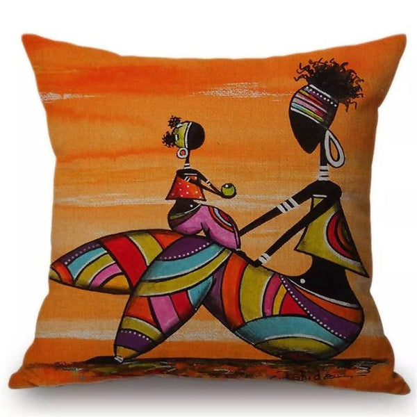 Orange Abstract African Life Painting Cushion Pillow Case
