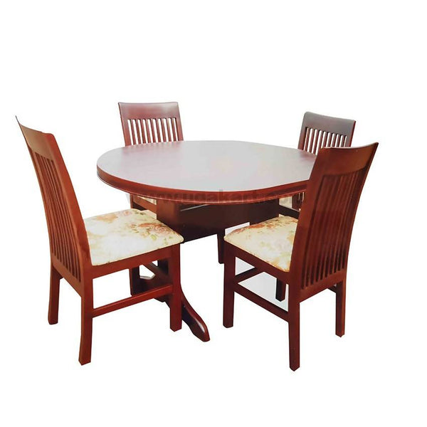 4 Seaters Round Brown Wooden Dinning Table