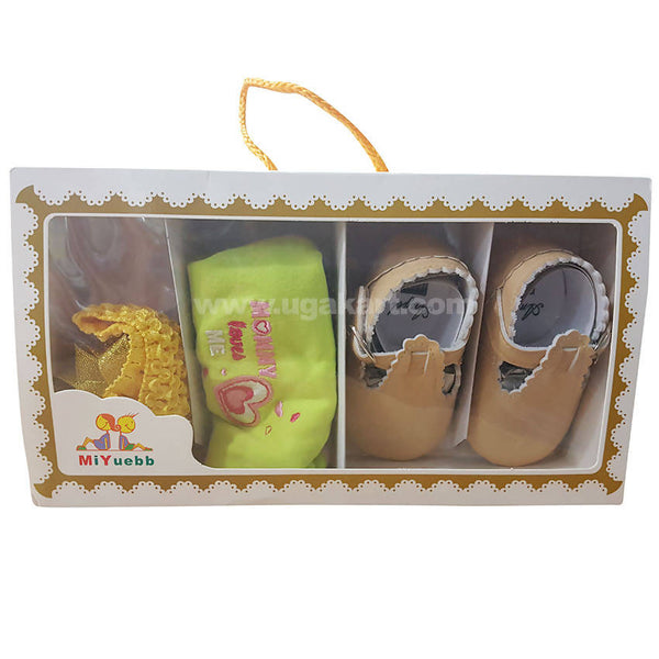 Light Brown Shoes,Bib & Hair Band Combo For Baby Girl- 0 to 6 months