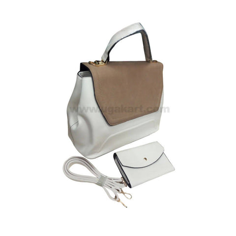 YSL Set of Two White & Brown Women'S Hand Bag