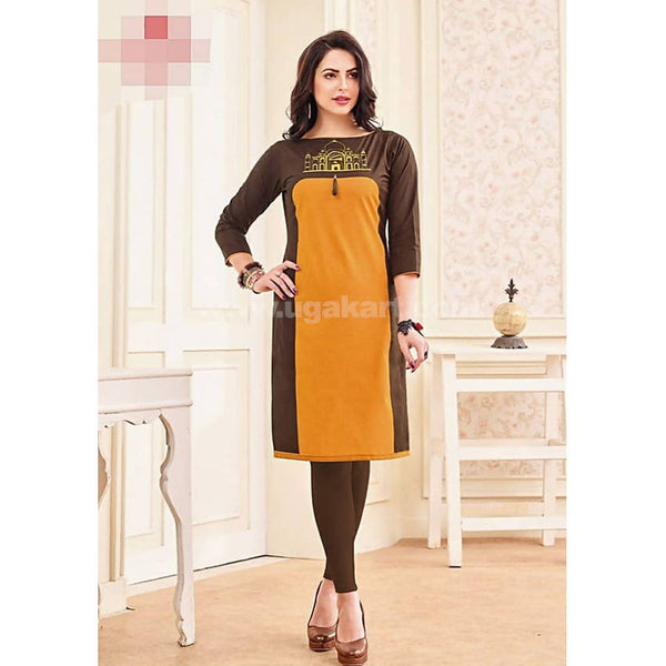 Top Kurti Cotton Material With Coffee Colour Legging Full Set-XXL (Bust Size - 50)