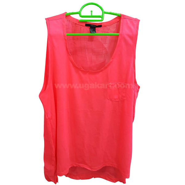Women's Pink Sleeve less Top
