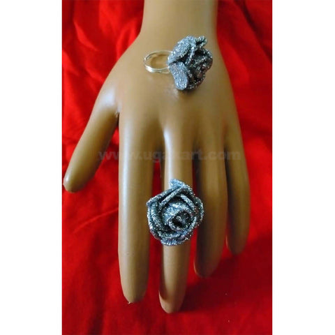 Adjustable ring silver glitter pair