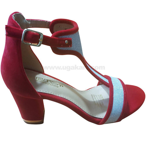 Women's Red & Silver Ankle Strap Heel Shoes