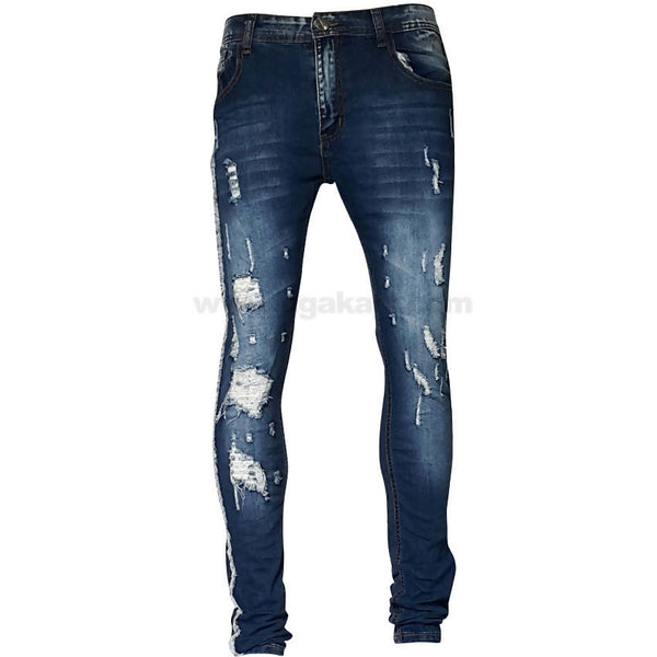 Dark Blue Slim Tracks Holes Jeans For Mens