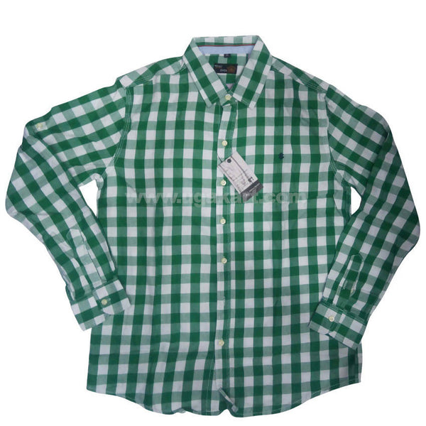 Sea Green Full Sleeve Checkered Shirt For Men