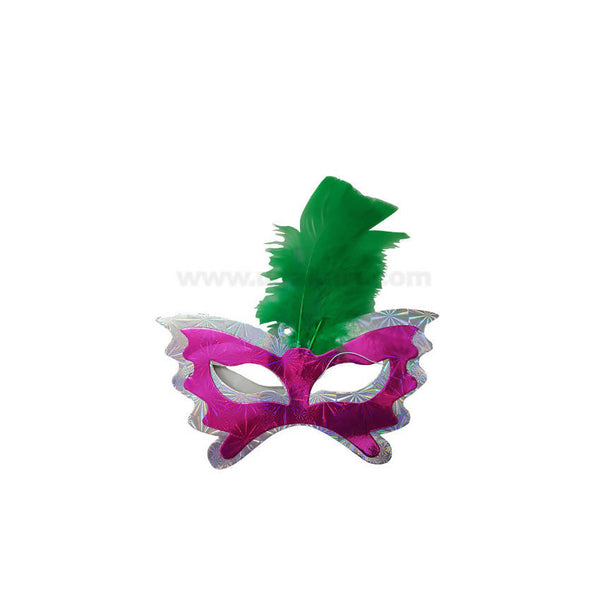 Party Face Mask With Feather-6pcs