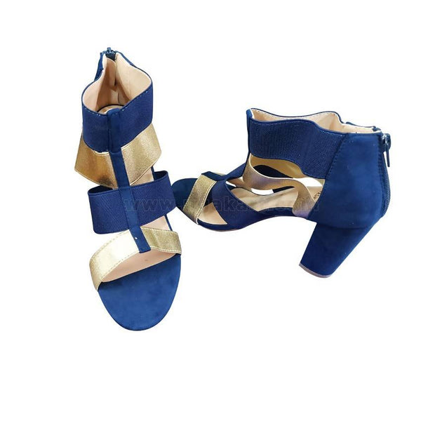 Blue and Golden High Heels Shoes