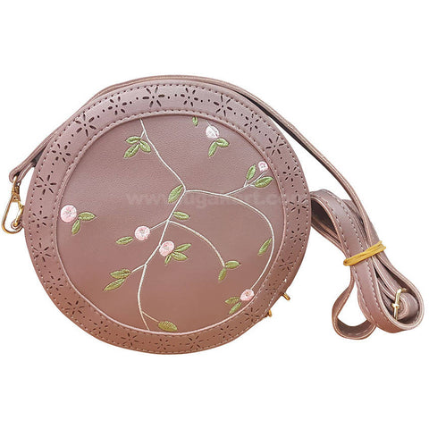 Pink Round Ladies Cross Bag Flower Design