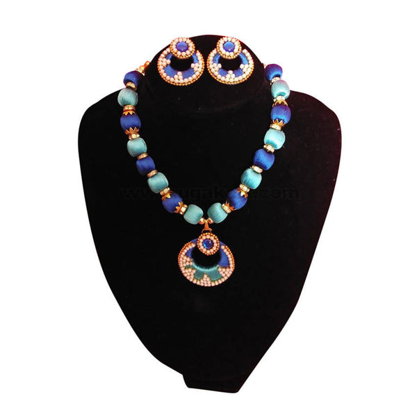 Blue And Dark Thread Ball Necklace With Earrings