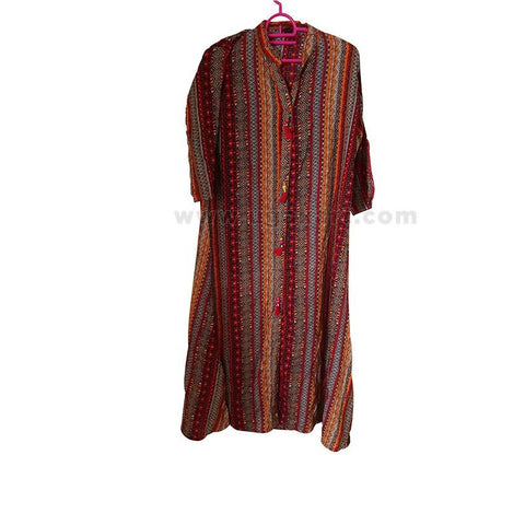 Women's Multi-colored Long Sleeve Dress - Size L
