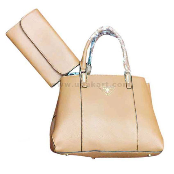 pure Beige Womens Hand Bag Set of Two