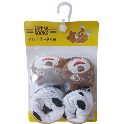 Brown White Color Socks For Kids 0 to 6 months