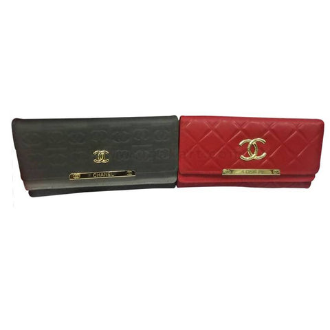 2 PC Ladies Chanel Design Clutch - Black and Red