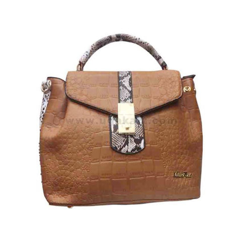 Womens Handbag Brown & White