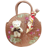Cream Round Ladies Party Hand Bag