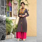 Umber Brown With Yellow And Pink Long Kurti - Size XXL