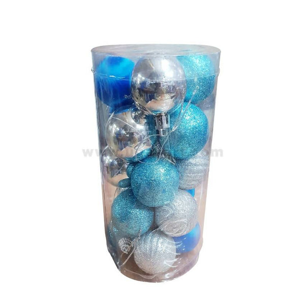 Decorations Balls-Blue & Silver-20Pc