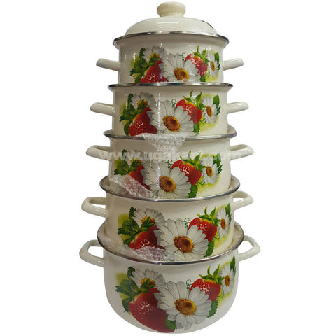 Five Pcs Ceramic Coated Soup Bowl With Lid (Case Roll)