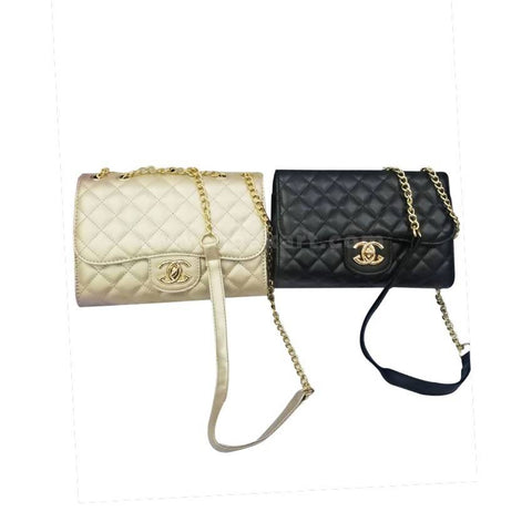 2 Piece Chained Ladies Cross Bags - Black and Cream