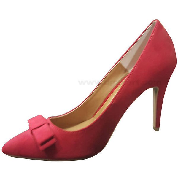 Red Plain With Belt High Heel Shoe For Women