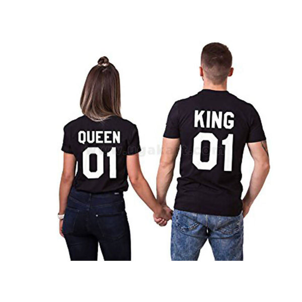 Black And White Printed King, Queen Couple T-Shirts