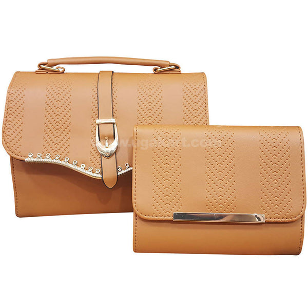Set of Two Brown Ladies Hand Bag with Wallet