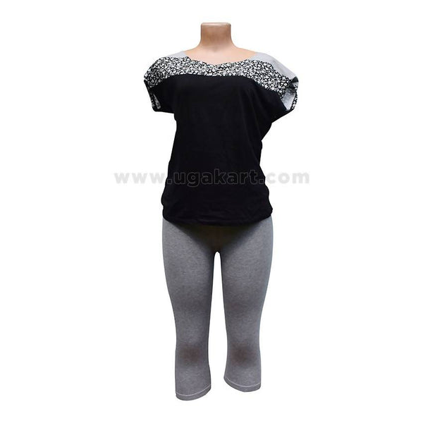 Top Black With 3/4 Legging Grey - M