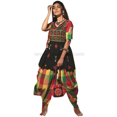 Dhoti Kurti Traditional Dress For Ladies Pure Cotton With Work XL