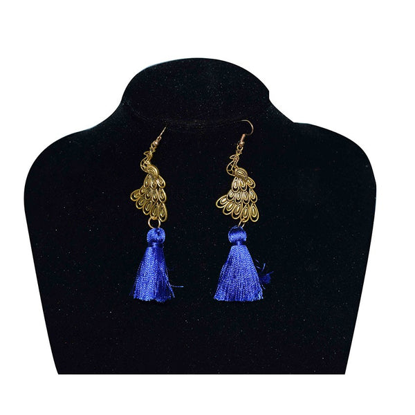 Peacock Earings With Blue Thread