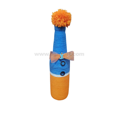 Decoration Hand Made Bottle With Flowers Big-Blue & Yellow